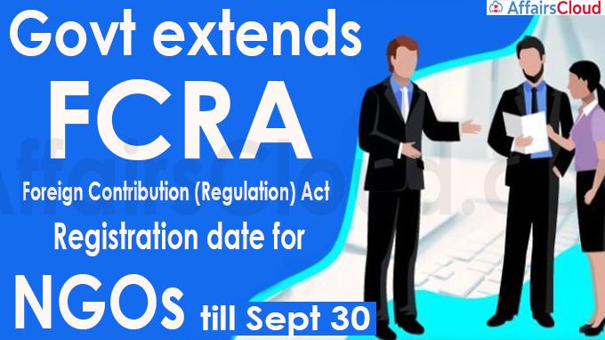 Govt extends FCRA registration date for NGOs till Sept 30