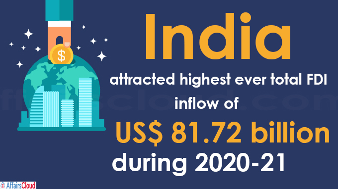 India attracted highest ever total FDI inflow of US$