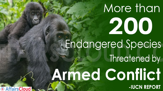 More than 200 endangered species threatened by armed conflict