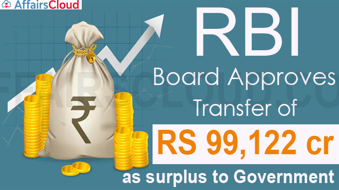 RBI Board approves transfer of Rs 99,122 cr