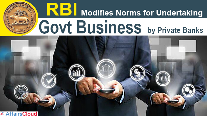 RBI modifies norms for undertaking govt business by private banks