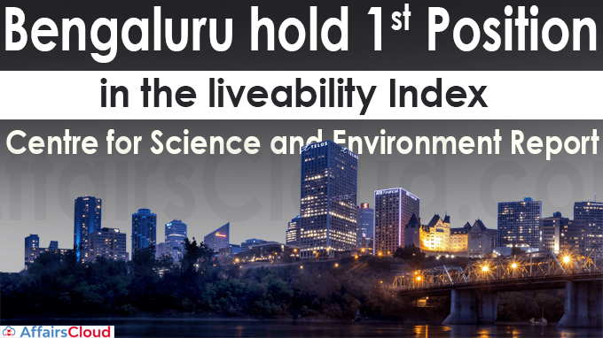 Bengaluru hold first position in the liveability index