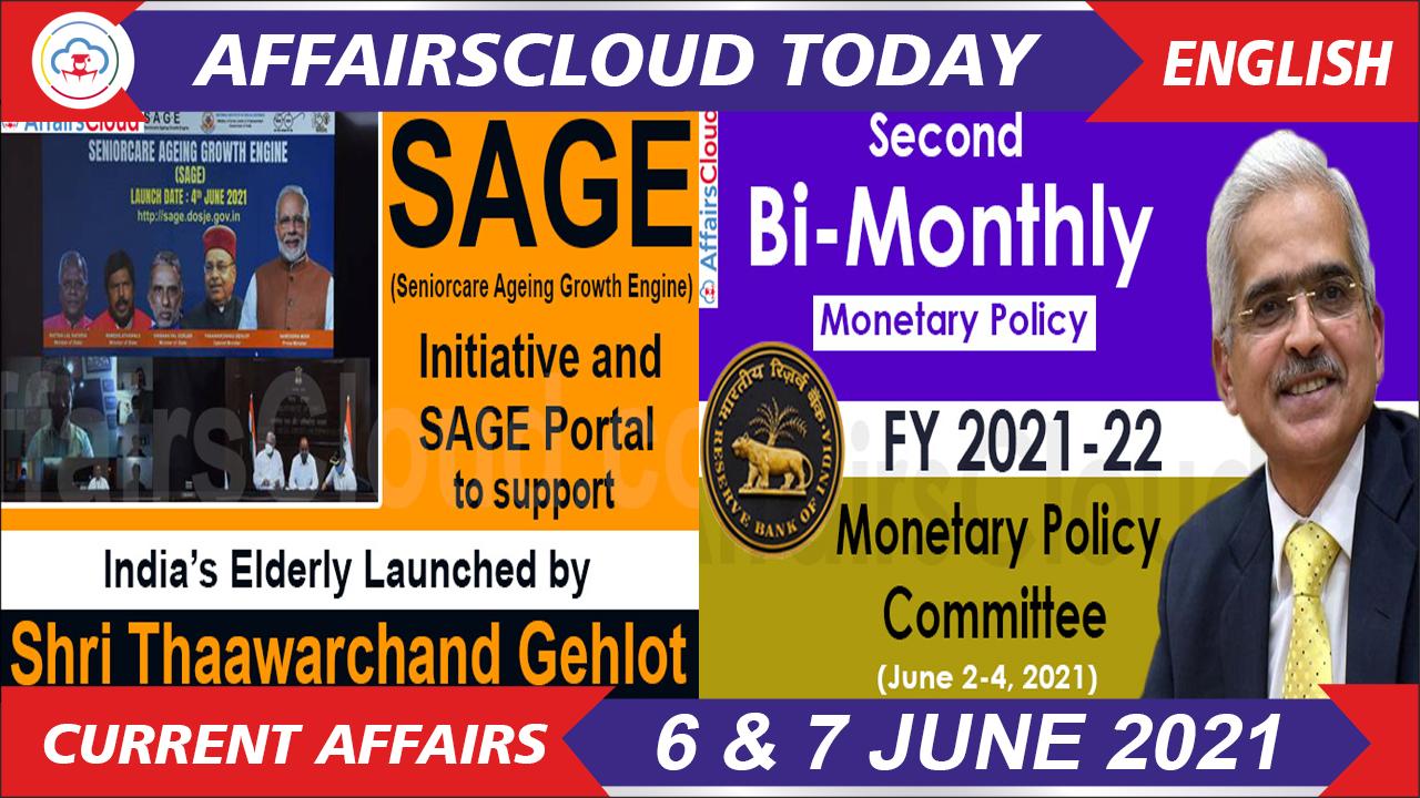 Current Affairs 6 & 7 June 2021 english