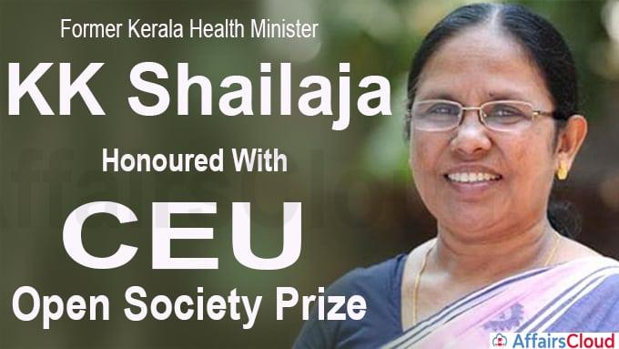 Former Kerala Health Minister KK Shailaja honoured with CEU Open Society Prize