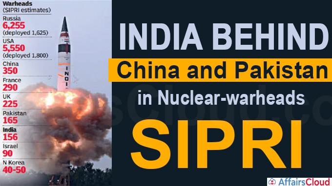 India behind China and Pakistan in nuclear-warheads
