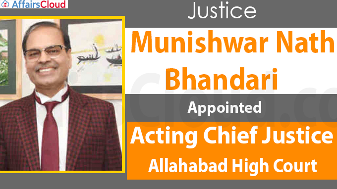 Justice Bhandari appointed Acting CJ of Allahabad High Court
