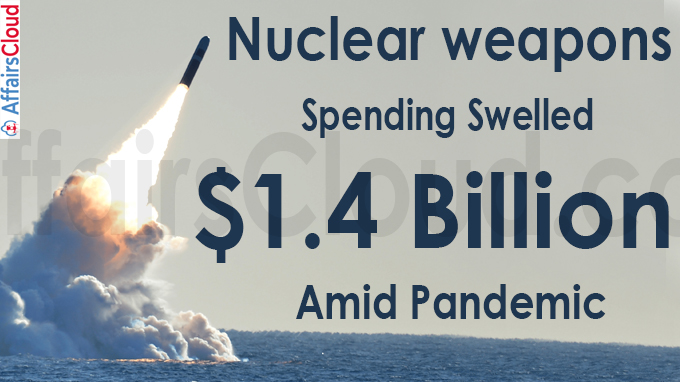 Nuclear weapons spending swelled $1-4 billion amid pandemic