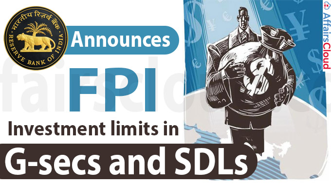 RBI announces FPI investment limits in G-secs and SDLs