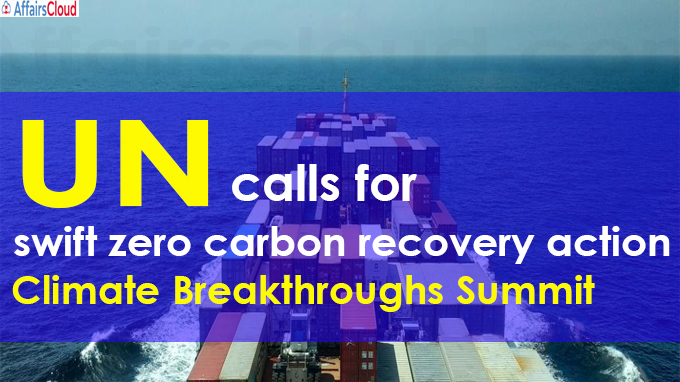 UN calls for swift zero carbon recovery action