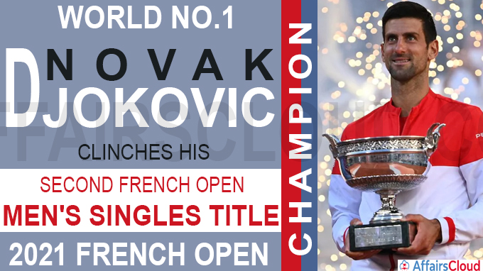 World No-1 Novak Djokovic clinches his second French open Men's Singles