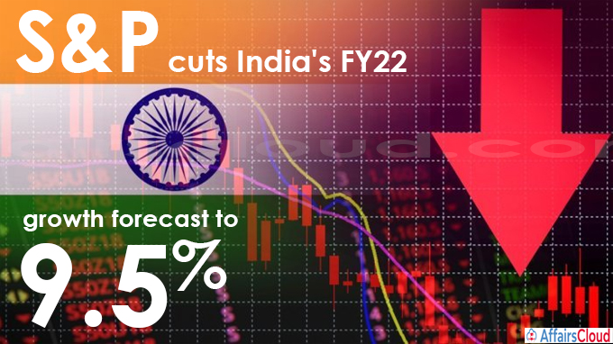 S&P cut India's FY22 GDP Growth Forecast to 9.5% In June 2021, S&P Global Ratings revised India's economic growth projection in FY22 to 9.5 percent from its earlier forecast of 11 percent. It projected the growth for FY23 at 7.8 percent. • It lowered the growth outlook of India and stated the country's recovery to be 'less steep' by comparing with the bounce in late 2020 and early 2021. • It reported permanent damage over the private and public sector balance sheet and it also mentioned the severe effect in the services sector compared with the manufacturing and exports that are less severely affected than that of 2020. • It stated that the Reserve Bank of India (RBI) would not make changes in the interest rate, due to a rise in inflation above 6 percent (the upper end of RBI's threshold). India's Economic Growth Forecasts: i.RBI has cut India's growth forecast for FY22 to 9.5 percent from 10.5 percent. ii.The World Bank revised its GDP growth of FY22 to 8.3 percent, from 10.1 percent. iii.Investment Information and Credit Rating Agency of India Limited(ICRA), has projected the economic growth of India for FY22 at 8.5 percent. iv.Moody's, a US-based rating agency, projected India's GDP growth for FY22 at 9.3 percent and for the Calendar year 2021 at 9.6 percent. v.Barclays, a British brokerage firm, had cut India's growth forecast for FY22 to 9.2 per cent. About S&P Global Ratings: It is a division of S&P Global Headquarters– New York, United States President – John Berisford
