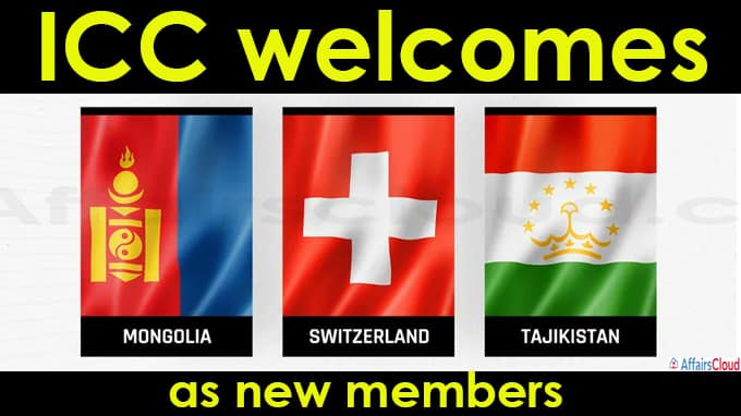 ICC welcomes Mongolia, Tajikistan and Switzerland as new members