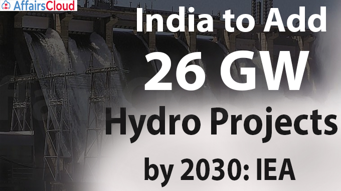 India to add 26 GW hydro projects by 2030