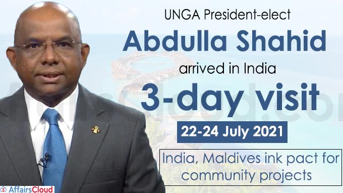 UNGA President-elect Abdulla Shahid arrives in India