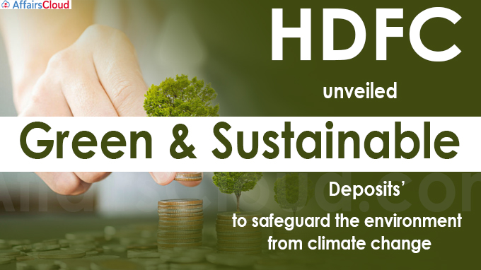 HDFC unveils 'Green & Sustainable' FD