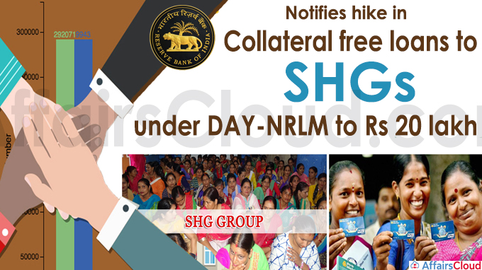 RBI notifies hike in collateral free loans to SHGs under DAY-NRLM to Rs 20 lakh