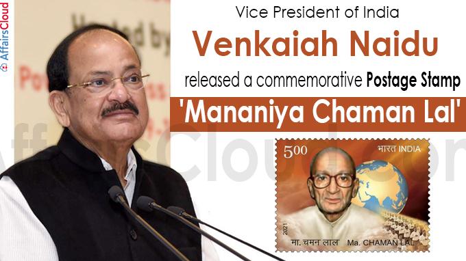 Venkaiah Naidu releases postage stamp on Mananiya Chaman Lal