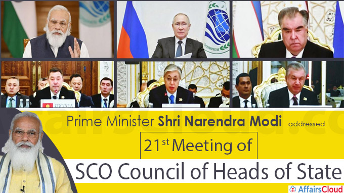 21st Meeting of SCO Council of Heads of State