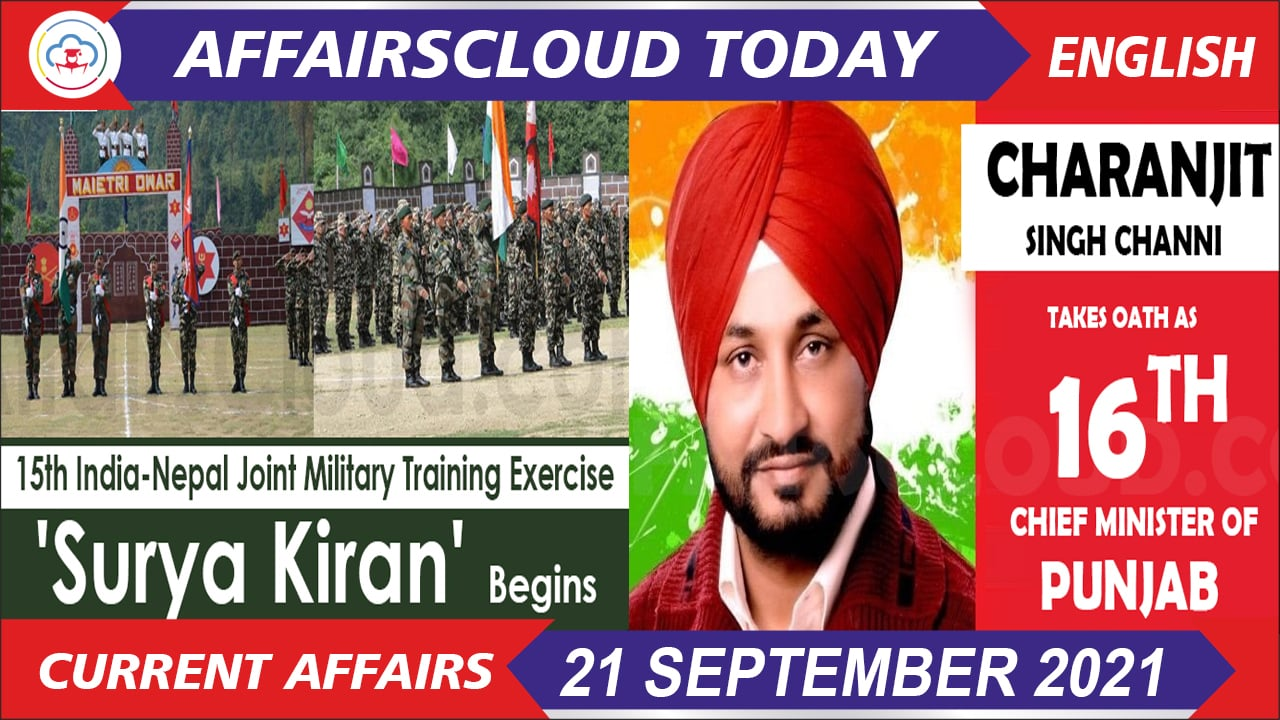 Current Affairs 21 September 2021 english