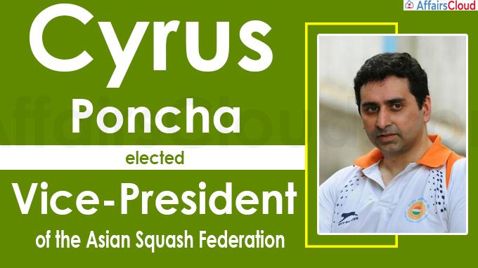 Cyrus Poncha elected VP of Asian Squash Federation