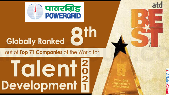 Globally Ranked 8th out of Top 71 Companies of the World for Talent Development 2021
