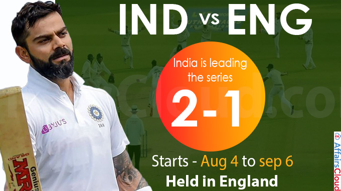 India is leading the series 2-1 in the 5 match test series against England
