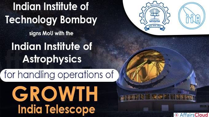 Indian Institute of Astrophysics (IIA) for handling operations of GROWTH - India Telescope