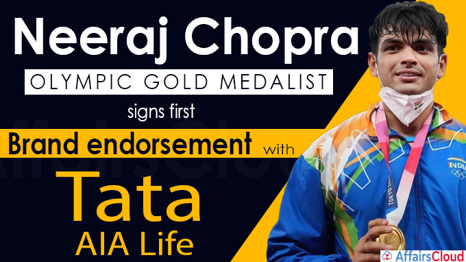 Neeraj Chopra, Olympic gold medalist signs first brand endorsement with Tata AIA Life