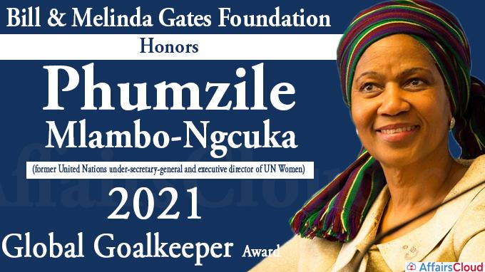 Phumzile Mlambo-Ngcuka With 2021 Global Goalkeeper Award