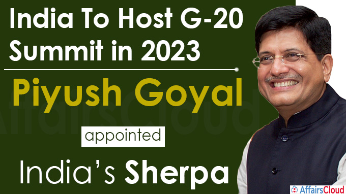 Piyush Goyal appointed as India's Sherpa for G20