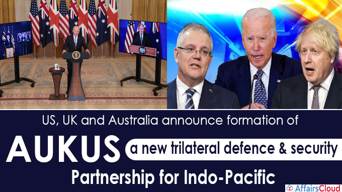 US, UK and Australia announce formation of AUKUS- a new trilateral defence & security partnership for Indo-Pacific