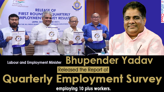 Bhupender Yadav releases the report of Quarterly Employment Survey