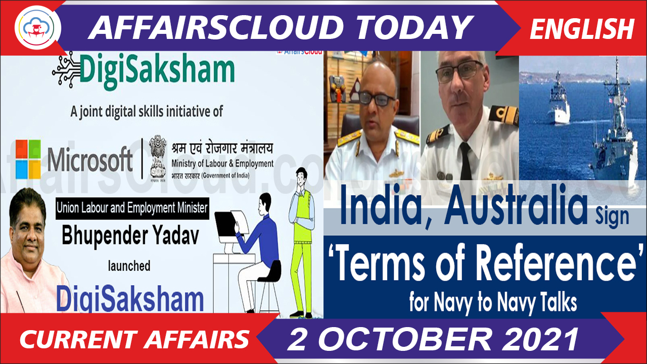 Current Affairs 2 October 2021 english