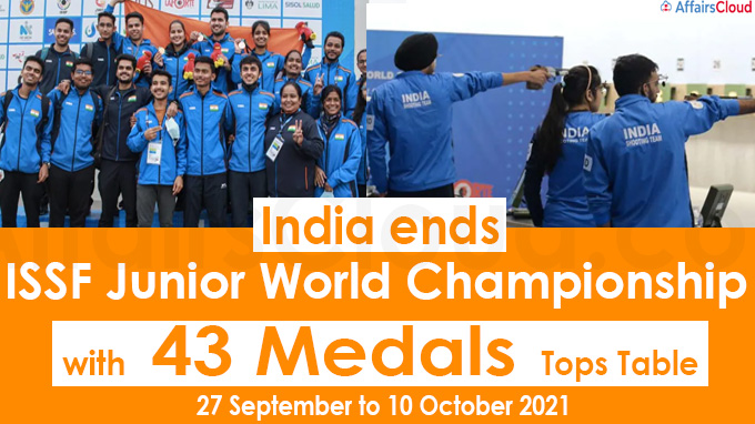 India ends ISSF Junior World Championship with 43 medals