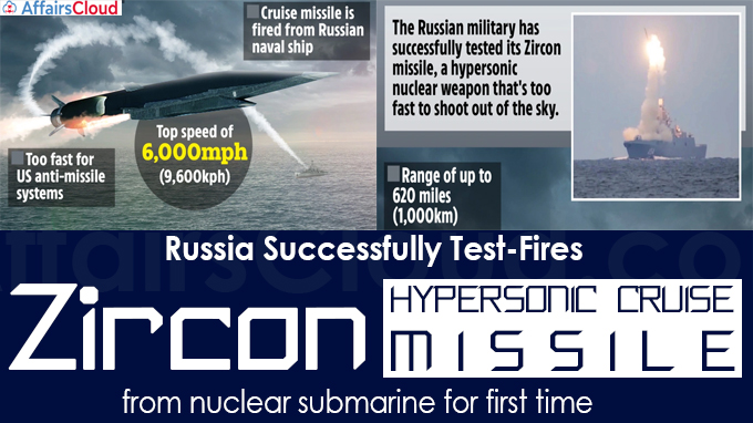 Russia successfully test-fires Zircon hypersonic cruise missile